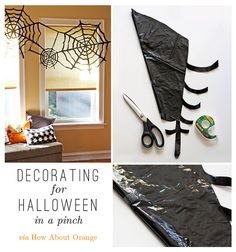 Spooky Decorations on the @FineStationery Blog Cut a large black garbage bag into a spider web decoration!