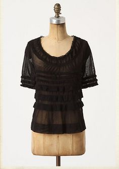 Anthropologie Ruffled Tulle boatneck tee - by Vanessa Virginia size L