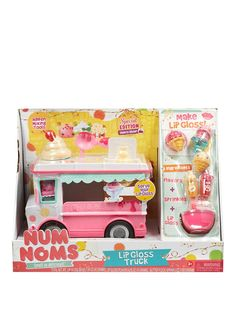 Num Noms Lip Gloss Truck Playset Nums are adorable, scented, squishy characters with tons of personality. These Noms are cute scented characters with a flavored lip gloss inside. Stack the Nums on top of the Noms to make over 1,000 sweet scented combinations. Scoop 'em all up.Maximum Weight (in kg): 1Warning Message: Warning: Not suitable for children under 3 yearsSeries 1: Ice Cream and Cupcake1 scented Num in a variety of flavors1 scented Nom with a flavored lip glossIncludes rare speci...
