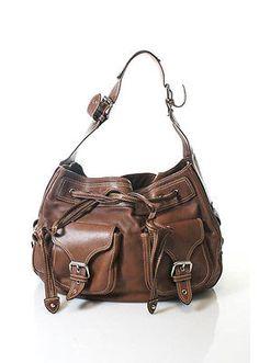 MARC-JACOBS-Brown-Leather-Silver-Tone-Hardware-Double-Pocket-Hobo-Handbag