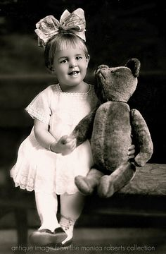 Edwardian photo pf a darling girl and her teddy bear    via the monica roberts photo collection