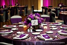 Plum Lamour. White Spandex Chair Covers. Plum Lamour Sash tied in a bow. Silver Sequin Overlay. Petroleum Club. House of Hough. Reclaimed Moments Photography