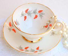 English Tea cup and Saucer. White Gold & Orange Fine Bone