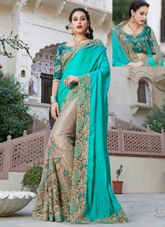 Fancy Turquoise And Beige Patch Border Work Crepe Designer Half Sarees http://www.angelnx.com/