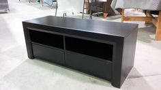 small custom media cabinet with push to open drawers