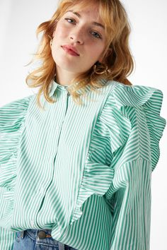 Monki Ruffle button up shirt in Green Bluish.