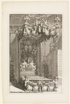 "Tombstone:  	Print, ""Design for a State Bedchamber, from Second Livre d'Appartement (Second Book on Interiors)"", ca. 1702.  	Daniel Marot .	ca. 1702. 	Etching with engraving in black ink on white laid paper.Smithsonian, Cooper-Hewitt. National Design Museum"