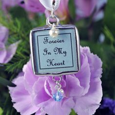 Memorial Wedding Bouquet Photo Charm Something Blue by glassrealm