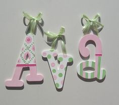 Custom Wooden Wall Letters - Pretty in pink and green - READY TO SHIP  on Etsy, $17.31 CAD