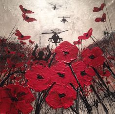 """By Jacqueline Hurley """"Fallen But Not Forgotten"""" War Poppy Collection No.2 Port Out, Starboard Home POSH Original Art Remembering Our Heroes"""