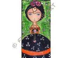 New Print - Frida  Thinking of Love   Print from Folk Art  by FlorLarios, $15.00