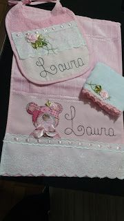 LOY HANDCRAFTS, TOWELS EMBROYDERED WITH SATIN RIBBON ROSES: CONJUNTO MENINA