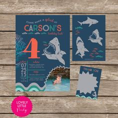 Free printable shark party invitations keenans 5th birthday diy printable blue shark birthday invitation kit invite and thank you card included filmwisefo