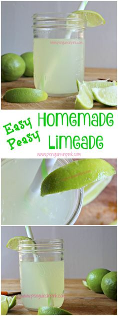 Peasy Homemade Limeade Easy Peasy Homemade Limeade - Homemade limeade tastes great, is way better than the store bought version, and is easy to make. Refreshing Drinks, Summer Drinks, Fun Drinks, Healthy Drinks, Healthy Recipes, Holiday Drinks, Dessert Drinks, Summer Desserts, Party Drinks