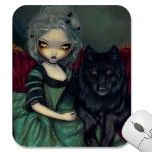 Loup-Garou:  Noir rococo gothic wolf Mousepad by strangeling  Jasmine Becket-Griffith