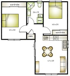 Granny pods simple L shaped 50 sqm granny flat plan – Bsqueda de Goo… Small Tiny House, Modern Tiny House, Tiny House Cabin, Small House Design, L Shaped House Plans, Dream House Plans, Small House Plans, House Floor Plans, The Plan