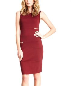 Look what I found on #zulily! Wine Zipper Sleeveless Sheath Dress by Pink Ocean #zulilyfinds