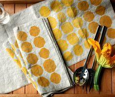 block printed linens... pillows, tea towels, napkins....