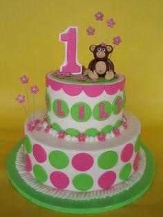 Little Girl Mod Monkey 1st Birthday Cake by CakesUniqueByAmy.com