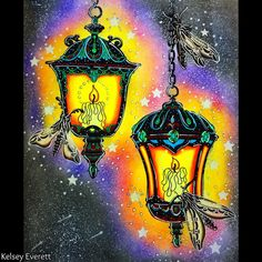 """447 Likes, 47 Comments - Kelsey's Coloring (@_kelsey_everett_) on Instagram: """"Just finished these two #lanterns from the #coloringbook #magicaldawn by @hannakarlzon .When I…"""""""