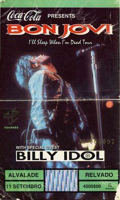 "Concerto: Bon Jovi ""I'll Sleep When I'm Dead Tour"", primeira parte com Billy Idol. Estádio José Alvalade, Lisboa. 11 de Setembro de 1993."