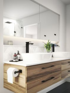 Matte Black Tapware www.meir.com.au/ - timber cabinet - mirror and shelf - prefer inset basins