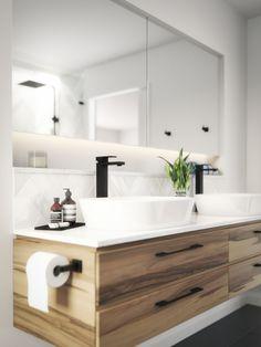 Meir Australia Matte Black Tapware. Get the look at www.meir.com.au/. #matteblack #blacktapware #MeirAustralia #bathroom