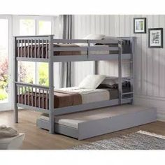 Harper & Bright Designs Espresso Twin Bunk Bed Over with Trundle Bed and End Ladder-SK000067AAP - The Home Depot Trundle Bed With Storage, Bunk Bed With Trundle, Bunk Beds With Stairs, Twin Bunk Beds, Kids Bunk Beds, Loft Beds, Ikea Bunk Bed, Triple Bunk Beds, Storage Beds