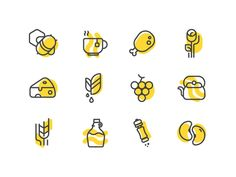 healthy food Icon Set by Hesam.keramati on Dribbble Icon Design, Flat Design Icons, Web Design, Logo Design, Graphic Design, Icon Set, Best Icons, Food Icons, Living At Home