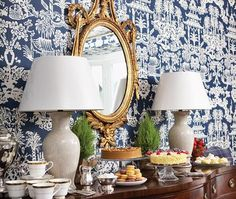 Chinoiserie Chic: Blue and White Dining Room Chinoiserie Wallpaper, Of Wallpaper, Eclectic Wallpaper, Halls, Interior Decorating, Interior Design, Eclectic Design, Blue And White China, Navy Blue