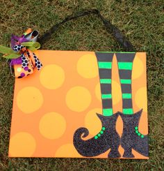 Personalized Halloween Canvas with Glitter Witch Shoes - 16x20 painted canvas. $40.00, via Etsy.