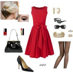 Red Dress Ensemble: Chic & Classy!