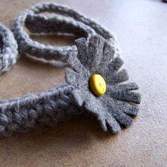 Shadow Gray Daisy Tie Headband Eco Friendly $18