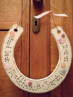 Hand crafted personalised wedding horse shoe £8.50.  Find me on folksy or at www.pottymoos.com