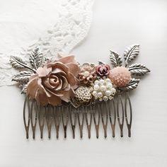 Iris - Mauve Blush Pink Wedding Hair Comb (Limited Edition)