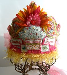 Sweetest of the Sweet Tiara, for the Ultimate Cup Cake Queen, Ready to Ship Felt Crown, Fabric Flower Brooch, Paper Crowns, Basic Embroidery Stitches, Flower Petals, Party Hats, Altered Art, Cute Gifts, Paper Dolls