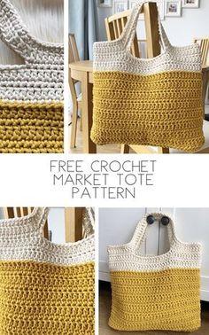 Crochet Beach Bags, Free Crochet Bag, Mode Crochet, Crochet Market Bag, Crochet Tote, Crochet Handbags, Crochet Purses, Crochet Crafts, Crochet Hooks