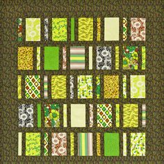 Combine rectangles and dark sashing and borders to create a quilt design that resembles a skyscraper with windows aglow. To get variety from a single collection, cut stripes both lengthwise and crosswise. Fabrics are from the Kew Gardens collection by Laura Ashley for Quilting Treasures.