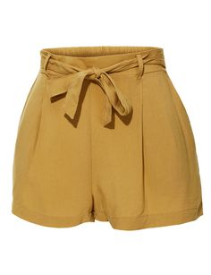 add882da32e4 Casual High Waisted Pleated Short Pants with Elastic Waistband