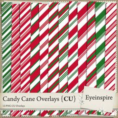 Set of 12 candy cane patterns to aid you in your digital scrapbooking kit designs! Create your own digital scrapbooking papers and embellishments with these christmasy pattern overlays. <br /> <br />Package contains 12 300 dpi 12x12 transparent PNG files.