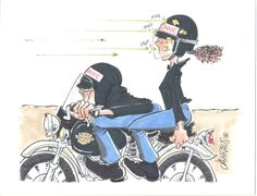 Our popular motorcycle couple cartoon shows the male cyclist bent down behind the windscreen and the female passenger getting all of the bugs splattered into her face shield. Here's a great gift for any cycle couple you know.