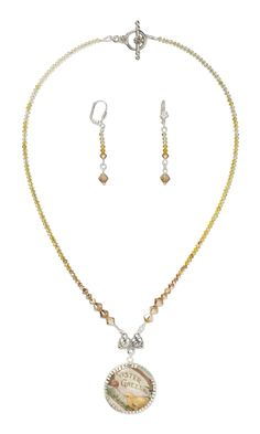 Jewelry Design - Single-Strand Necklace and Earring Set with Silver-Finished Brass and Glass Cabochon Focal, Swarovski® Crystals and Antique Silver-Finished ''Pewter'' End Bar - Fire Mountain Gems and Beads