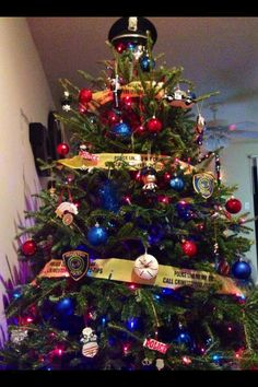 police christmas tree - Police Officer Christmas Decorations