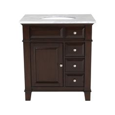 Westport Bay Martinsburg Mahogany in Espresso 1059S (Common: 31-in x 22-in) Undermount Single Sink Bathroom Vanity with Natural Marble Top (Actual: 31-in x 22-in)