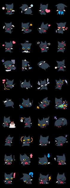 I made a daily stamp of cats. Kitty Cats, Kittens, Sticker Ideas, Scrapbook Embellishments, Line Sticker, Anime Chibi, Beautiful Cats, Cat Love, Sanrio