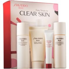 Shiseido Ibuki Easy Steps to Clear Skin (€22) ❤ liked on Polyvore featuring beauty products, skincare, face care, shiseido skin care, shiseido skincare, shiseido and paraben free skin care