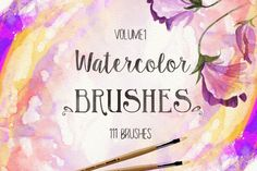 111 Watercolor Brushes by desenart on Creative Market