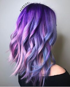 Blue And Purple Mermaid. Purple hair color variations surprise us with their num. - Blue And Purple Mermaid. Purple hair color variations surprise us with their numerousness and versa - Purple Wig, Hair Color Purple, Purple Ombre, Bright Purple Hair, Purple Streaks, Light Purple, Deep Purple, Purple Unicorn, Unicorn Hair