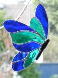 Stained Glass Butterfly Suncatcher Green and Blue by JoiedeLight Stained Glass Ornaments, Stained Glass Birds, Stained Glass Suncatchers, Stained Glass Crafts, Faux Stained Glass, Stained Glass Designs, Stained Glass Panels, Stained Glass Patterns, Leaded Glass