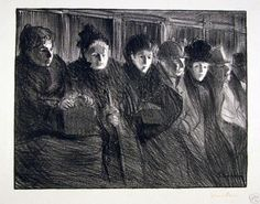 "Theophile-Alexandre Steinlen (French, 1859-1923), ""Inside the Tram,"" 1896."